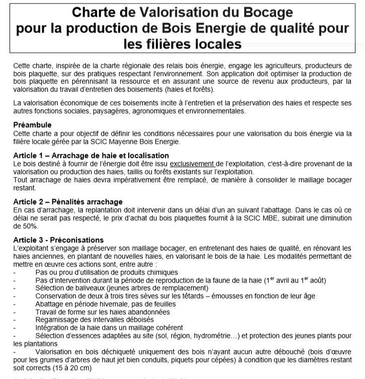 Extrait de la charte que signent les adhérents de Mayenne Bois Energie